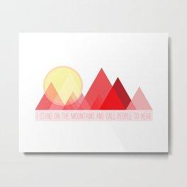 Geometric Color Block Mountains (Reds) Metal Print