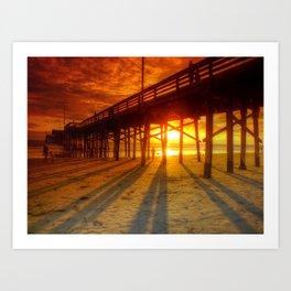 Sunset At The Pier Newport Beach California Art Print