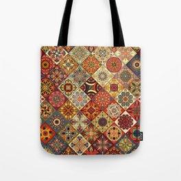 Vintage patchwork with floral mandala elements Tote Bag