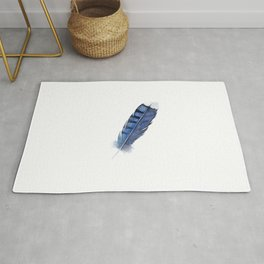 Blue Jay Feather , Blue Feather, Watercolor Feather, Watercolor painting by Suisai Genki Rug