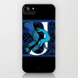 Celtic Peacocks Letter J iPhone Case