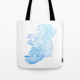 Typographic Ireland - Blue Watercolor map Tote Bag