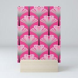 Art Deco Lily, Fuchsia Pink and Silver Gray Mini Art Print