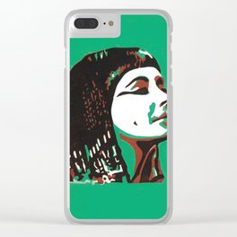 Empress Cleopatra_green background Clear iPhone Case