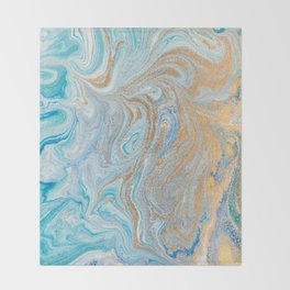 Marble turquoise gold silver Throw Blanket