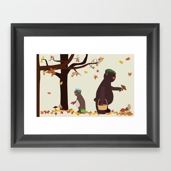 Autumn Bears Framed Art Print