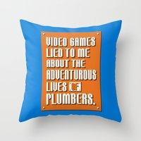 video games Throw Pillows featuring Video Games Lied To Me by Made With Awesome