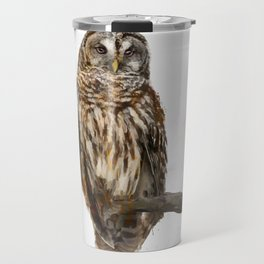 Digital Painting of  Barred Owl perching Travel Mug