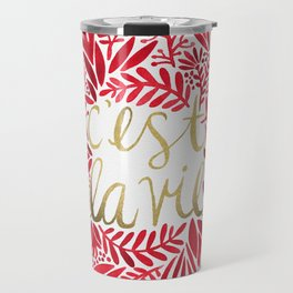 That's Life – Gold & Red Travel Mug