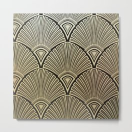 Golden Art Deco pattern Metal Print