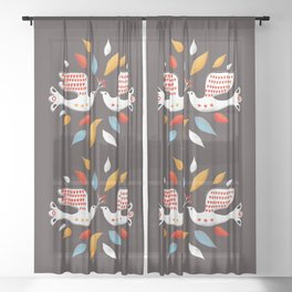 Retro christmas birds illustration Sheer Curtain