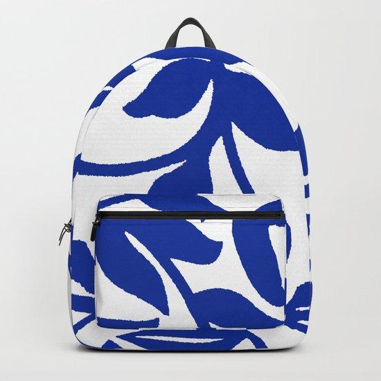 PALM LEAF VINE SWIRL BLUE AND WHITE PATTERN by saundramyles