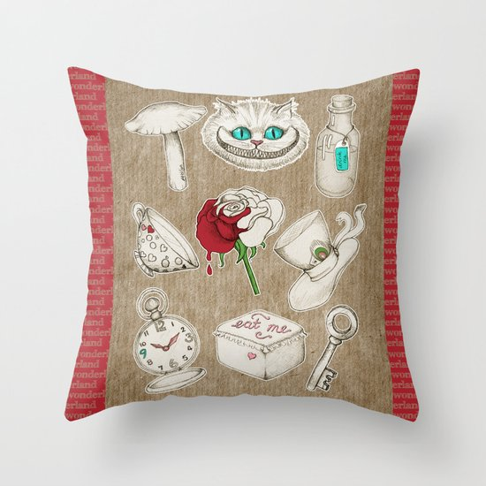 Things you'll find in Wonderland Throw Pillow
