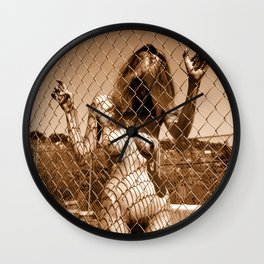 Fenced In (Nude Photography) Wall Clock