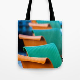 Blue Green and Orange Abstract Tote Bag