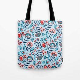 Floral Roma (Blue/Red) Tote Bag