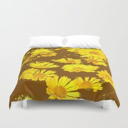 COFFEE BROWN & YELLOW COREOPSIS  FLORAL ART DESIGN Duvet Cover