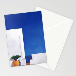 Beyond the White Wall - Santorini, Greece - Minimal Travel Print - Romantic Coastal Vibes Stationery Cards
