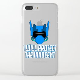 """""""I Will Protect The Innocent"""" tee for robot and machine lovers out there! Get yours now!  Clear iPhone Case"""