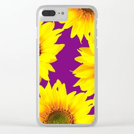 Sunflowers on a purple background - summer mood - #Society6 #buyart Clear iPhone Case