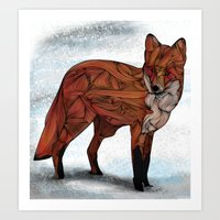 fox Art Prints featuring Red Fox by Ben Geiger