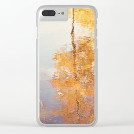 Autumn Trees Reflection Photography, Fall Tree Nature Orange Gold Yellow Purple, Water Reflections Clear iPhone Case