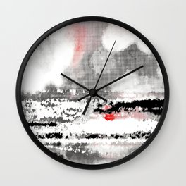 Abstract Seascape - Black, White, Red Wall Clock