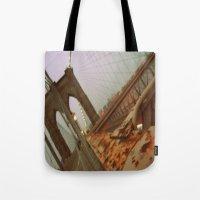 brooklyn bridge Tote Bags featuring Brooklyn Bridge  by S|Tarah