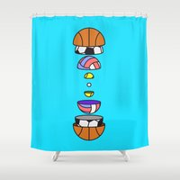 volleyball Shower Curtains featuring Big Balls by Jan Luzar