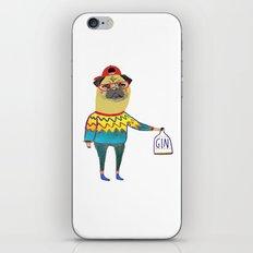 Gin Pug. Pug art, gin art. iPhone & iPod Skin