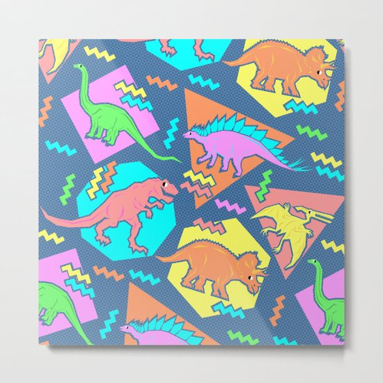 Nineties Dinosaur Pattern Metal Print