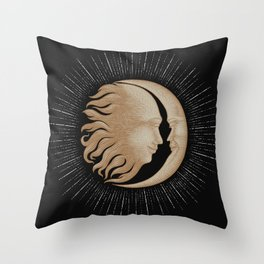 Face in sun and moon hand drawing vintage engraving money line detail style Throw Pillow