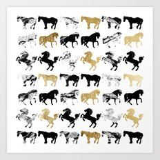 Gold and Black and White Marble Modern Horses Art Print