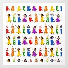 Belly Dancers - Rainbow Colors Art Print