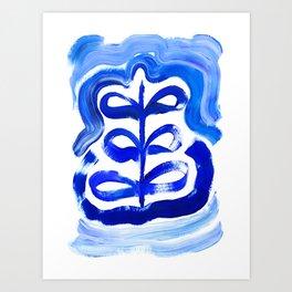 Blue Abstract Flower Art Print