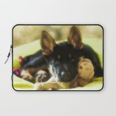 Shepherd puppy looks so tired Laptop Sleeve