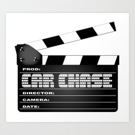 Car Chase Clapperboard Art Print