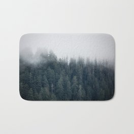 Misty Morning - Fog Rises off Mountains Revealing Forest in Washington Bath Mat