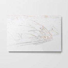 Freshly Fallen Snow on Grass Metal Print