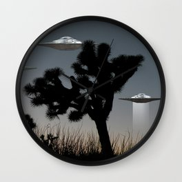 Joshua Tree Space Invasion by C.Reyes Wall Clock