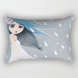 Blue haired Girl in the rain Rectangular Pillow