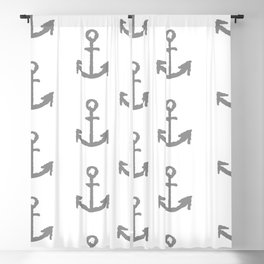 Anchors - white with gray Blackout Curtain