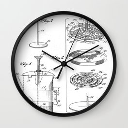 Coffee Filter Patent - Coffee Shop Art - Black And White Wall Clock