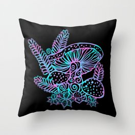 Glowing Mushrooms Throw Pillow