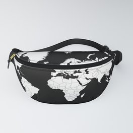 Minimalist World Map White on Black Background. Fanny Pack