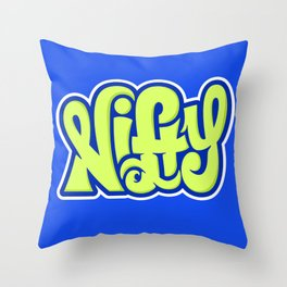 NIFTY HAND LETTERING DESIGN I (GREEN ON BLUE) Throw Pillow