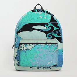 Orca Whale Dance Teal blue Backpack