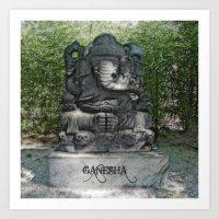 ganesha Art Prints featuring Ganesha by Lucia