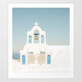 White Church and Church Bells on Santorini Island Greece Oia Art Print