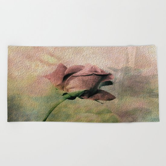 Painterly Pink Rose Bud Beach Towel